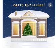 Weinig huis met Kerstmisboom Royalty-vrije Stock Foto