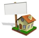 Weinig huis met raad Stock Afbeelding