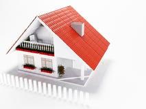 Weinig huis met rood dak Stock Afbeelding