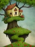 Weinig Huis op de boom stock illustratie