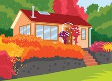 Weinig Huis op de Heuvel Vectorillustratie Stock Afbeelding
