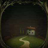 Weinig Huis op de nacht in het hout royalty-vrije illustratie