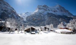 Weinig huizen in Alpien dorp in Zwitserland Royalty-vrije Stock Foto