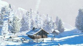 Weinig hut hoog in bergen bij sneeuwval Royalty-vrije Stock Foto