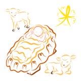 Weinig Jesus en twee lammeren, de glanzende ster van Kerstmis stock illustratie