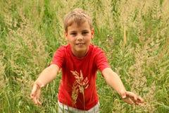 Weinig jongen bevindt zich in hoog groen gras royalty-vrije stock foto