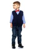 Weinig jongen in blauw vest Royalty-vrije Stock Foto
