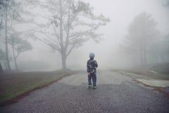 Weinig jongen die door de mist in bos lopen: Thailand Royalty-vrije Stock Foto's
