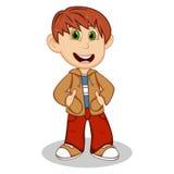 Weinig jongen die een bruin jasje en een rood beeldverhaal van de broekenstijl dragen Royalty-vrije Stock Afbeelding