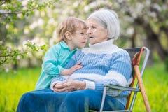 Weinig jongen die een geheim vertellen aan zijn groot - grootmoeder in boomgaard stock afbeelding
