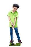 Weinig jongen die golfclub nemen Stock Afbeelding
