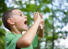 Weinig jongen die in het bos schreeuwt Stock Foto's