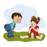 Weinig jongen die met een klein meisje spelen royalty-vrije illustratie