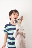 Weinig jongen die met zijn hefboom van de vriendenhond russel op wit spelen Stock Afbeeldingen