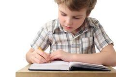Weinig jongen die in notitieboekje, half lichaam schildert Royalty-vrije Stock Foto