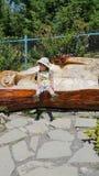Weinig jongen die op een houten bank rusten royalty-vrije stock afbeelding