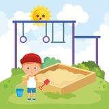 Weinig jongen die op het park spelen vector illustratie