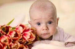 Weinig jongen die op maag dichtbij een boeket van tulpen en het kijken liggen Stock Afbeeldingen