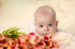Weinig jongen die op maag dichtbij een boeket van tulpen en het kijken liggen Royalty-vrije Stock Fotografie