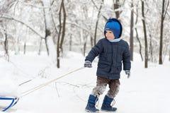 Weinig jongen die in sneeuwbos sledding Stock Foto