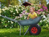 Weinig jongen die zich in tuinkruiwagen bevinden Royalty-vrije Stock Afbeelding