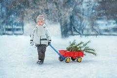 Weinig jongen draagt een Kerstboom met rode wagen Het kind kiest een Kerstboom stock afbeelding