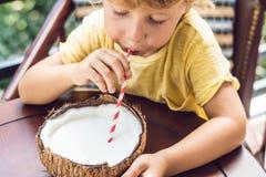 Weinig jongen drinkt eigengemaakte kokosmelk van de helft van kokosnoot stock afbeeldingen