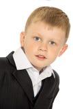 Weinig jongen in een kostuum stock afbeeldingen