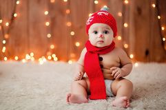 Weinig jongen in een rode hoed Royalty-vrije Stock Afbeelding