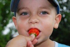 Weinig jongen eet aardbei Stock Foto's
