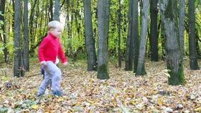 Weinig jongen en meisje stellen en hebben pret in de herfst in werking stock footage