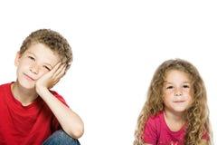Weinig jongen en meisjes het glimlachen portret Stock Fotografie