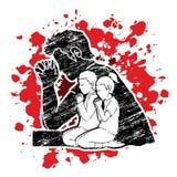Weinig jongen en meisjesgebed, Lof aan Lord vector illustratie