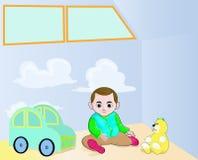 Weinig jongen en zijn speelgoed Stock Afbeeldingen