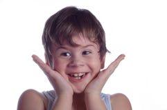 Weinig jongen glimlacht stock foto