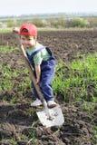 Weinig jongen graaft met grote schop Stock Foto