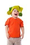 Weinig jongen in grappige hoed stock afbeeldingen