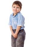 Weinig jongen heeft een pipi nodig royalty-vrije stock fotografie