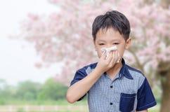 Weinig jongen heeft lopende neus van allergieën stock foto