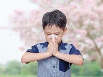 Weinig jongen heeft lopende neus van allergieën stock fotografie