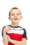 Weinig jongen het borstelen tanden Royalty-vrije Stock Fotografie