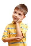 Weinig jongen het dromen Stock Foto