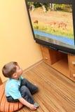 Weinig jongen het letten op bioskoop op TV Stock Afbeeldingen