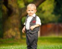 Weinig jongen in het park Stock Foto's
