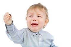 Weinig jongen het schreeuwen Stock Afbeelding