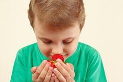 Weinig jongen het snuiven aroma van verse aardbeien Stock Fotografie