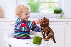 Weinig jongen het voeden broccoli aan stuk speelgoed dinosaurus royalty-vrije stock fotografie