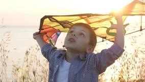 Weinig jongen houdt kleurrijke vlieger boven zijn hoofd die zich in de graskust bij zonsondergang bevinden stock video