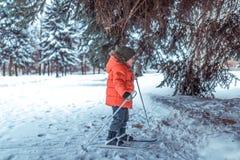 Weinig jongen is 3-4 jaar oud, skis van de skis de eerste stappen van de winterkinderen, actief beeld van kinderen Achtergrondsne stock foto's