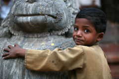Weinig jongen Katmandu Nepal Stock Foto's